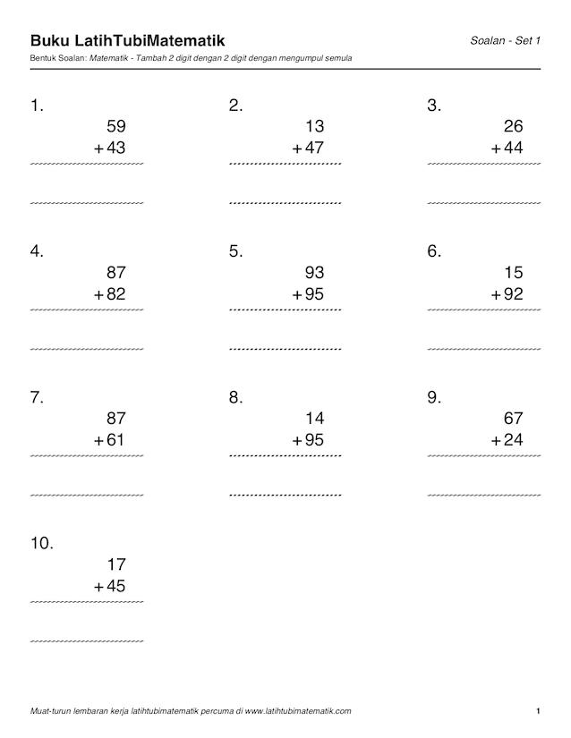 Soalan Matematik Latih Tubi Frasmi